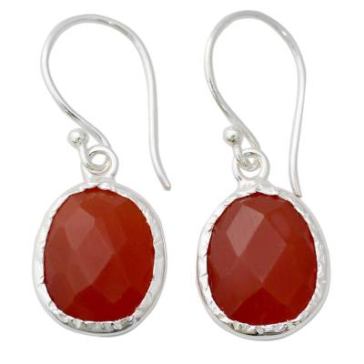 Hand Crafted Red Onyx and Sterling Silver Dangle Earrings