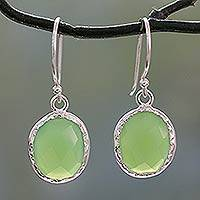 Onyx dangle earrings, 'Leafy Beauty' - Hand Crafted Green Onyx and Sterling Silver Earrings