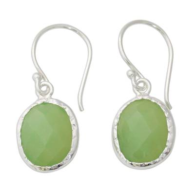 Hand Crafted Green Onyx and Sterling Silver Earrings