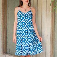 Cotton sundress, 'Abstract Cyan' - Cyan and White Ikat Printed Cotton Sundress from India