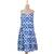 Cotton sundress, 'Abstract Cyan' - Cyan and White Ikat Printed Cotton Sundress from India (image 2c) thumbail