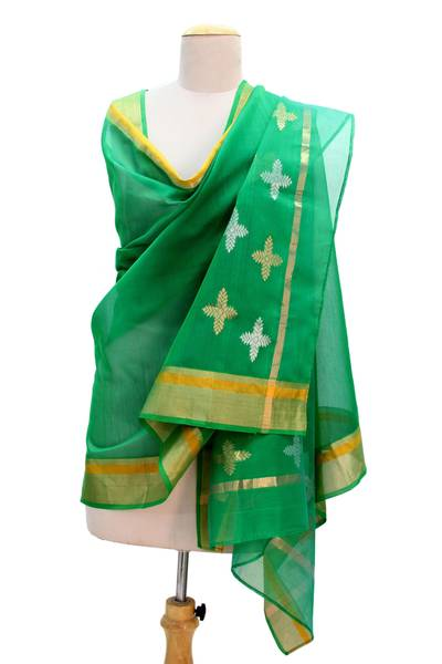Cotton and silk shawl, 'Forever Emerald' - Emerald Green Cotton and Silk Shawl with Golden Flowers
