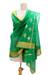 Cotton and silk shawl, 'Forever Emerald' - Emerald Green Cotton and Silk Shawl with Golden Flowers thumbail