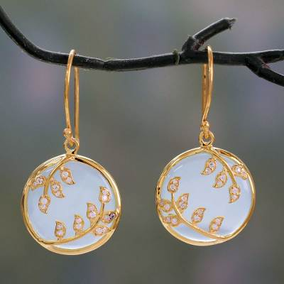 8bff58fed26e6 Gold Vermeil Aqua Chalcedony Earrings with Cubic Zirconia, 'Dewdrop Nature'