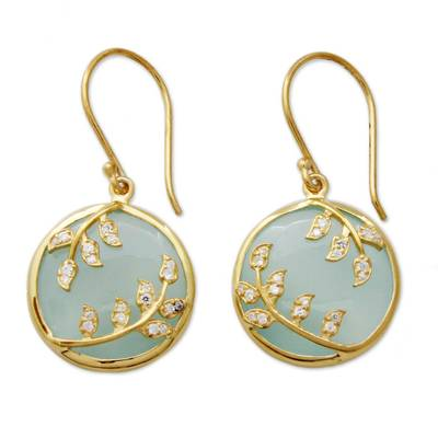 Gold vermeil chalcedony dangle earrings, 'Dewdrop Nature' - Gold Vermeil Aqua Chalcedony Earrings with Cubic Zirconia