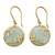 Gold vermeil chalcedony dangle earrings, 'Dewdrop Nature' - Gold Vermeil Aqua Chalcedony Earrings with Cubic Zirconia (image 2a) thumbail