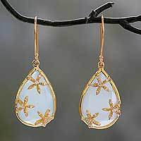 Gold vermeil chalcedony dangle earrings, 'Aqua Floral Kiss' - Chalcedony Earrings in Gold Vermeil with Cubic Zirconia