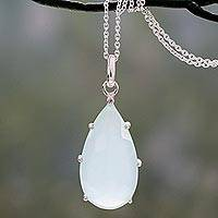 Chalcedony pendant necklace, 'Aqua Droplet' - Chalcedony and Sterling Silver Handmade Pendant Necklace