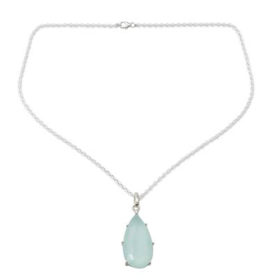 Chalcedony and Sterling Silver Handmade Pendant Necklace