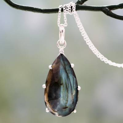 Labradorite pendant necklace, 'Dusky Droplet' - Fair Trade Labradorite and Sterling Silver Pendant Necklace