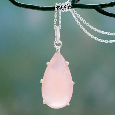 Chalcedony pendant necklace, 'Rose Droplet' - Hand Crafted Pink Chalcedony and Sterling Silver Necklace