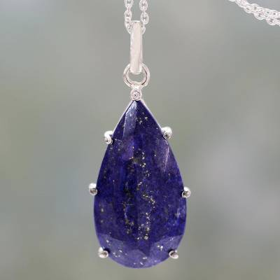 Lapis lazuli pendant necklace, 'Royal Droplet' - Lapis Lazuli and Sterling Silver Handmade Pendant Necklace