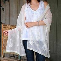 Cotton and silk shawl, 'Ivory Ferns' - Ivory on Ivory Hand Embroidered Cotton and Silk Shawl