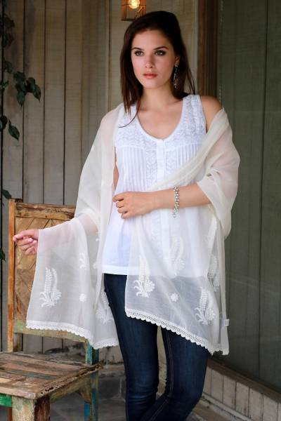 Cotton and silk shawl, Ivory Ferns