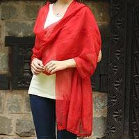 Cotton and silk shawl, 'Crimson Ferns' - Sheer Red Hand Embroidered Cotton and Silk Shawl