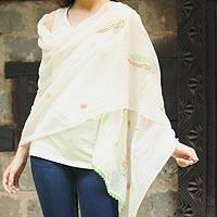 Cotton and silk shawl, 'Fresh Ferns' - Green and Orange Embroidered Off-White Cotton Silk Shawl