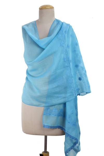 Unicef Market Turquoise Color Hand Embroidered Cotton