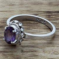 Amethyst single stone ring, 'Regal Glamour' - Hand Made Sterling Silver Amethyst Single Stone Ring India