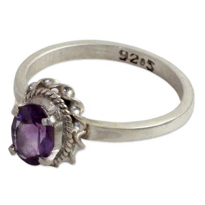 Hand Made Sterling Silver Amethyst Single Stone Ring India