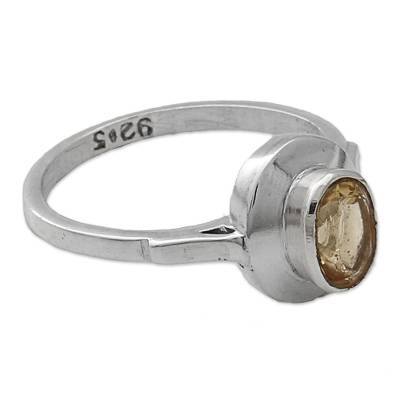 Indian Artisan Crafted Citrine Solitaire Ring in Silver 925