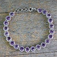 Amethyst tennis bracelet, 'Violet Enchantment'