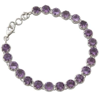 Amethyst tennis bracelet, 'Violet Enchantment' - Artisan Handcrafted Silver Tennis Bracelet with 21 Amethysts