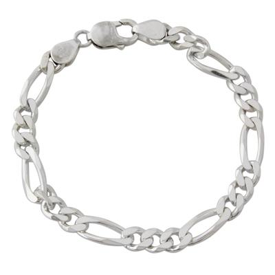 Men's sterling silver link bracelet, 'Being Bold' - Artisan Crafted Men's Sterling Silver Link Bracelet