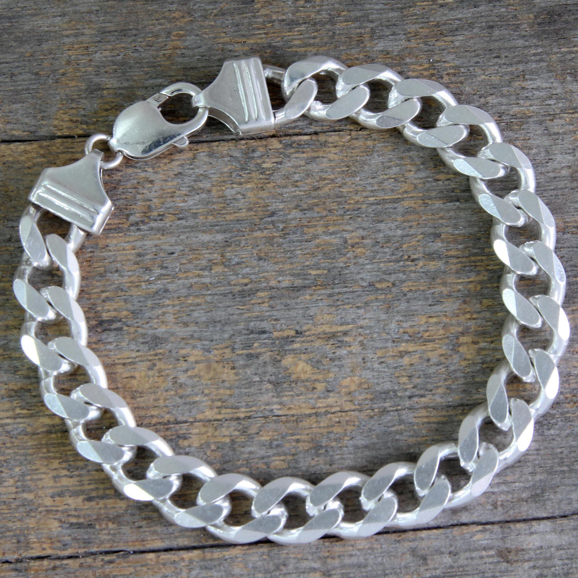 Men\'s Modern Sterling Silver Link Bracelet from India - Hip Hop ...