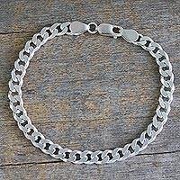 Men's sterling silver link bracelet, 'Hip Hop Connection' - Indian Handcrafted Sterling Silver Men's Bracelet