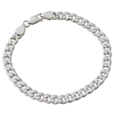 Men's sterling silver link bracelet, 'Hip Hop Connection' - Indian Handcrafted Sterling Silver Men's Bracelet