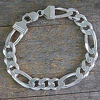 Men's sterling silver link bracelet, 'Bold Man' - Artisan Crafted Men's Sterling Silver Link Bracelet