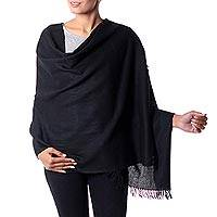 Wool shawl, 'Dark Fantasy'