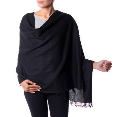 Wool shawl, 'Dark Fantasy' - Fair Trade Solid Black 100% Wool Shawl from India