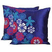 Applique cushion covers, 'Sapphire Garden' (pair) - Set of 3 Embroidered Applique Blue Floral Cushion Covers
