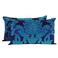 Applique cushion covers, 'Sapphire Grandeur' (pair) - Two Blue and Turquoise Embroidered Applique Cushion Covers