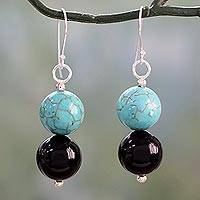 Onyx dangle earrings, 'Azure at Midnight' - Onyx Earrings with Reconstituted Turquoise Crafted in India