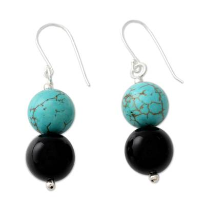 Onyx Earrings with Reconstituted Turquoise Crafted in India