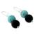 Onyx dangle earrings, 'Azure at Midnight' - Onyx Earrings with Reconstituted Turquoise Crafted in India (image 2b) thumbail