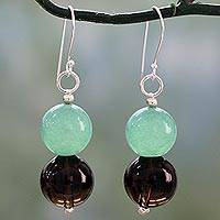 Smoky quartz dangle earrings, 'Mint in the Mist' - Smoky Quartz and Green Quartz Silver Hook Dangle Earrings