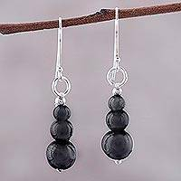 Hematite dangle earrings, 'Mysteries of the Night' - Far Trade Hematite Earrings with Sterling Silver Hooks