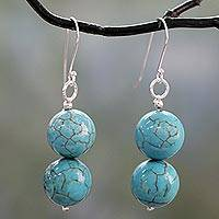 Sterling silver dangle earrings, 'Azure Paths' - Handcrafted Indian Earrings with Reconstituted Turquoise