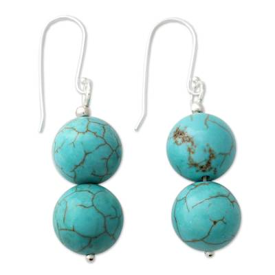 Handcrafted Indian Earrings with Reconstituted Turquoise