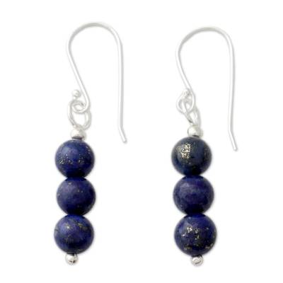 Lapis lazuli dangle earrings, 'Blue Mysteries' - Handcrafted Indian Lapis Lazuli Earrings with Silver Hooks