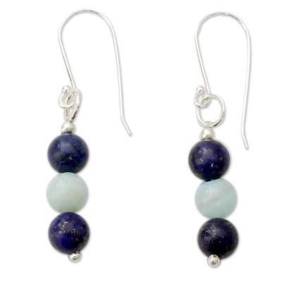 Lapis Lazuli and Amazonite Sterling Silver Dangle Earrings