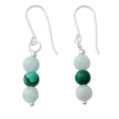 Amazonite Earrings with Malachite and Silver Hooks