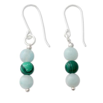 Amazonite and malachite dangle earrings, 'Forest Mysteries' - Amazonite Earrings with Malachite and Silver Hooks