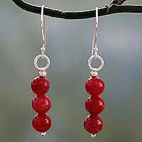Quartz dangle earrings, 'Trio in Rose' - Handcrafted Red Quartz Earrings with Sterling Silver Hooks