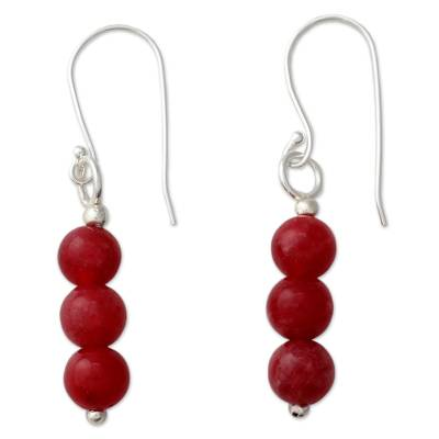 Handcrafted Red Quartz Earring with Silver Hooks