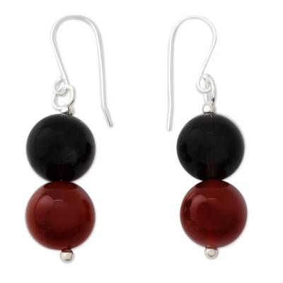 Smoky quartz and carnelian dangle earrings, 'Fire in the Mist' - Dangle Earrings with Smoky Quartz and Carnelian