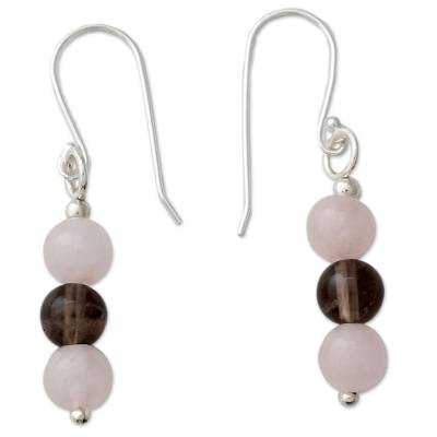 Handcrafted Rose Quartz Earrings with Smoky Quartz